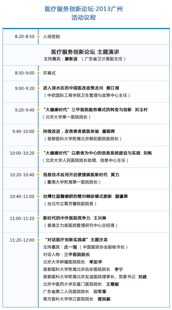 医疗服务创新论坛·2013广州 活动议程