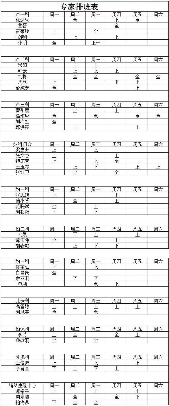陕西省妇幼保健院专家坐诊时间表,陕西省妇幼保健院