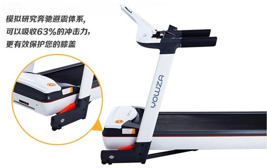 而yowza优沃跑步机悬臂减震的结构是悬挂式,冲击力到地面的很小,不会