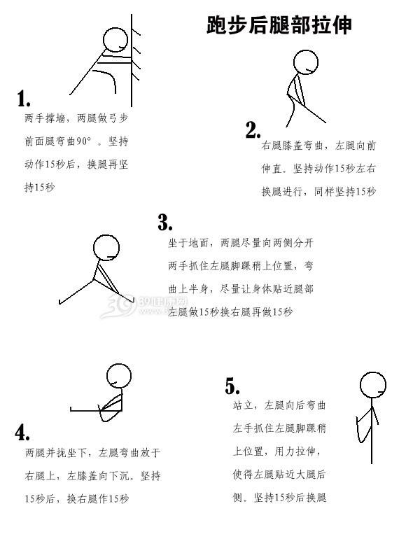 图解跑步后腿部拉伸运动做法