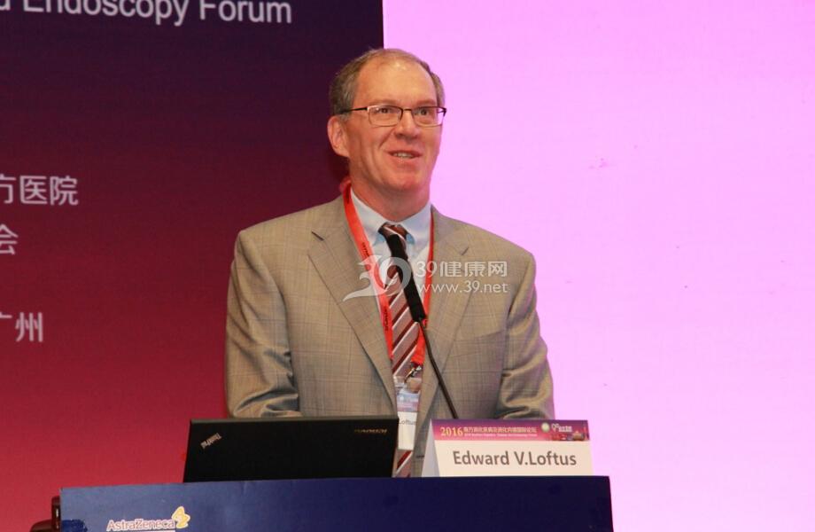 美国著名消化专家Edward.V.Loftus教授在论坛开幕式上致辞。