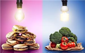 食物 汉堡 快餐 蔬菜 西兰花 西红柿 对比 健康食品 垃圾食品_23186730_xxl_副本