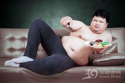 青年 男 肥胖 超重 甜品 甜甜圈 沙发 看电视_31351551_xxl