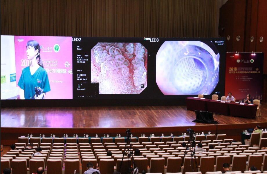 专家在主会场进行内镜手术表演。